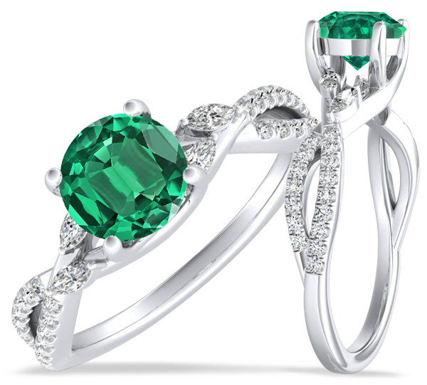Emerald Wedding Ring Sets