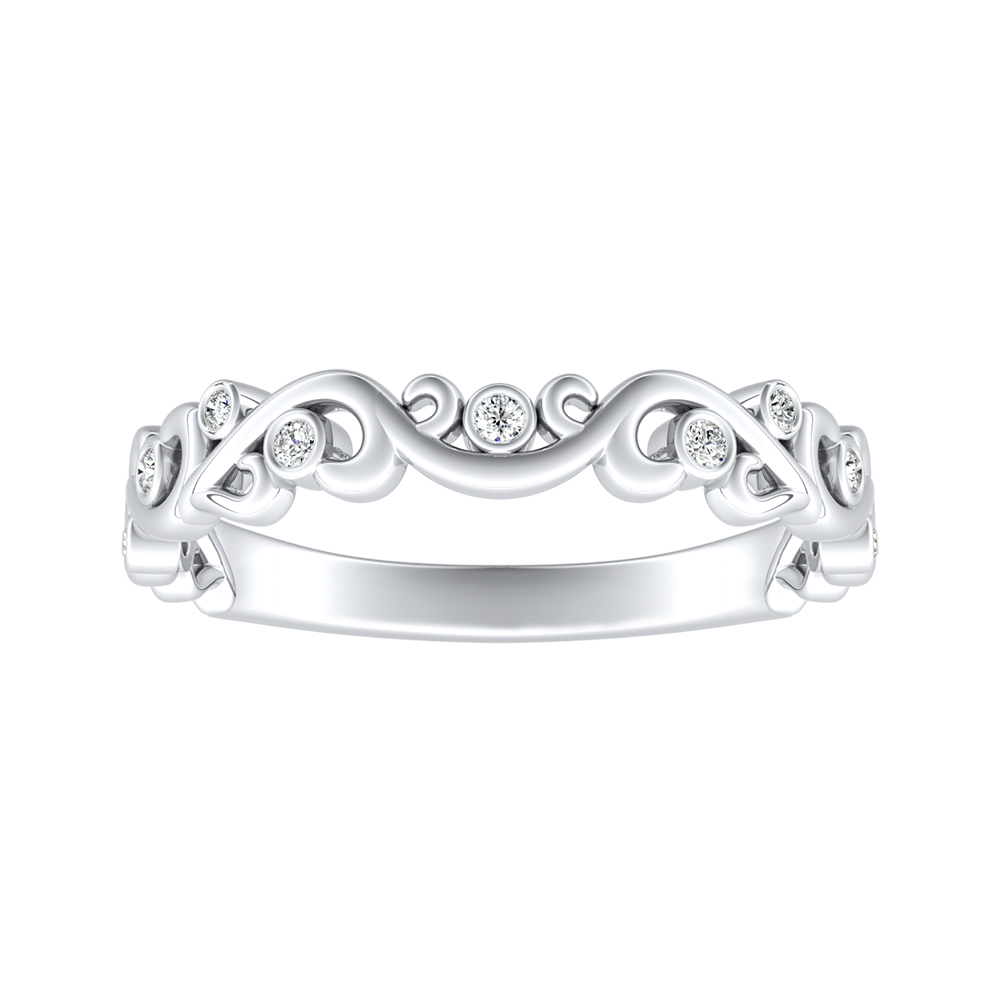 DAISY Floral Diamond Wedding Ring In 14K White Gold