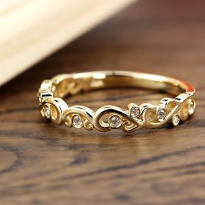 DAISY Floral Diamond Wedding Ring In 14K Yellow Gold