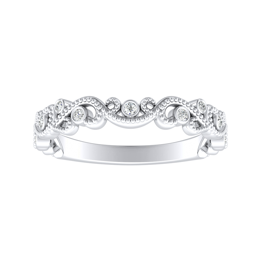LILA Diamond Floral Milgrain Wedding Ring In 14K White Gold