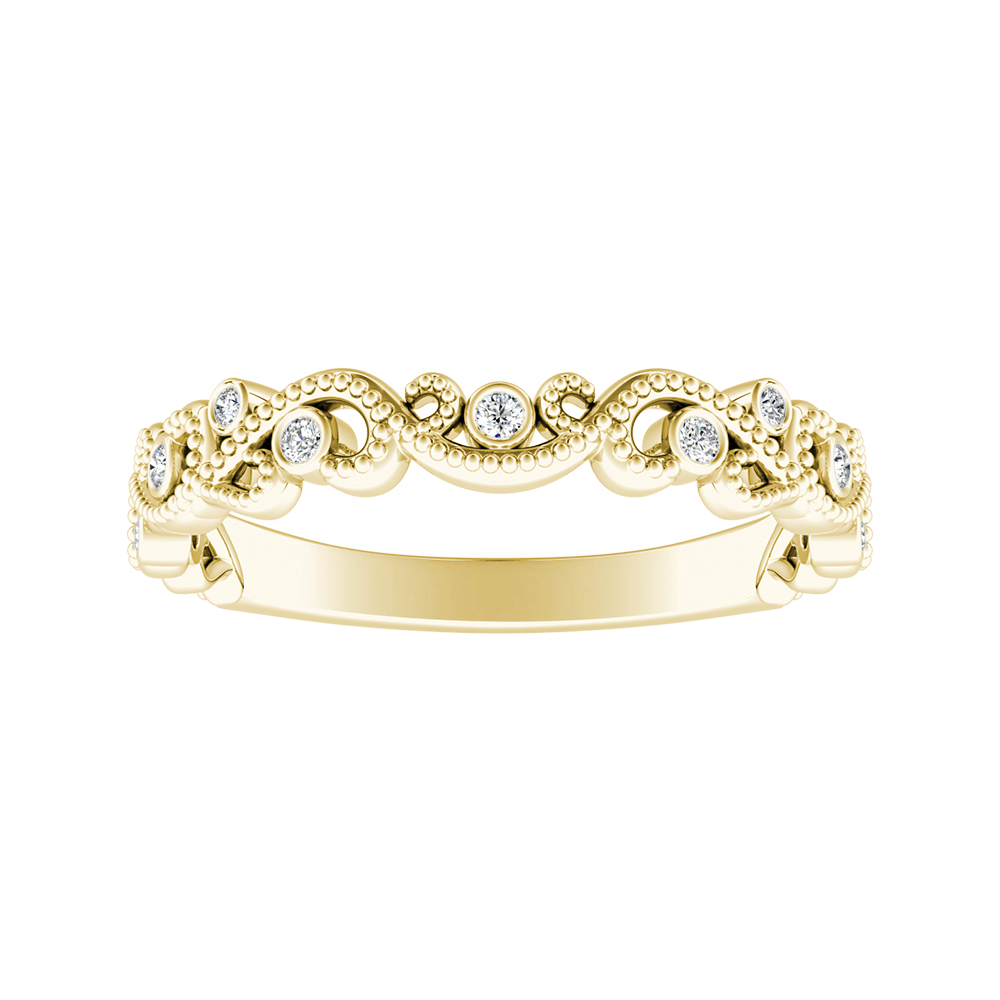 LILA Diamond Floral Wedding Ring In 18K Yellow Gold