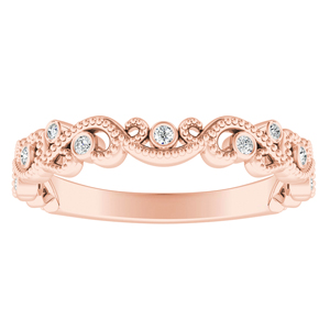 LILA Diamond Floral Milgrain Rose Gold Wedding Ring In 14K