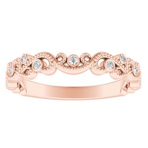 LILA Diamond Floral Milgrain Rose Gold Wedding Ring In 14K