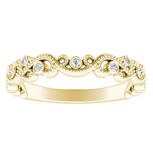 LILA Diamond Floral Milgrain Yellow Gold Wedding Ring In 14K