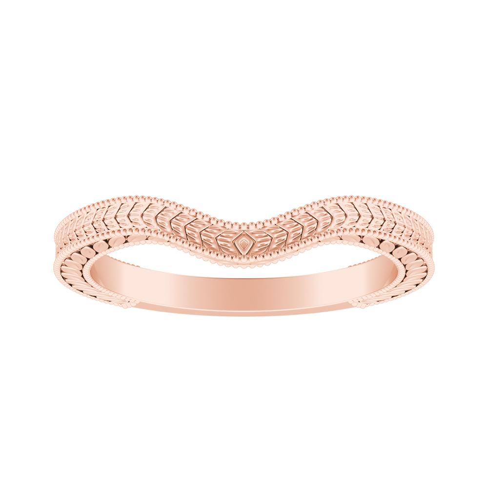 REAGAN Vintage Style Wedding Ring In 14K Rose Gold