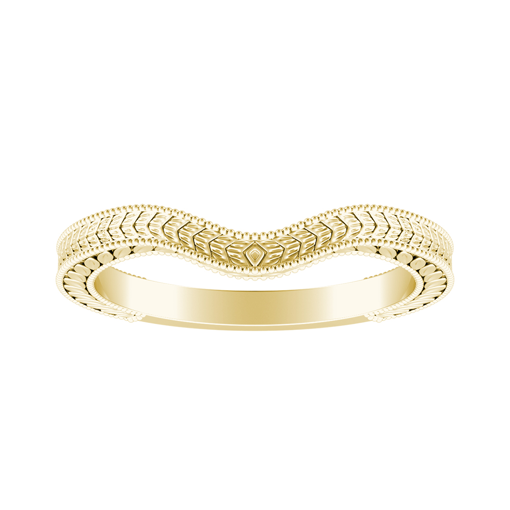 REAGAN Vintage Style Wedding Ring In 18K Yellow Gold