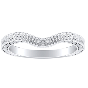 REAGAN Vintage Style Wedding Ring In 14K White Gold