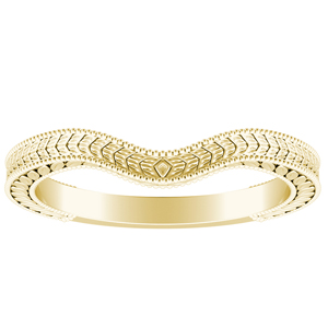REAGAN Vintage Style Wedding Ring In 14K Yellow Gold