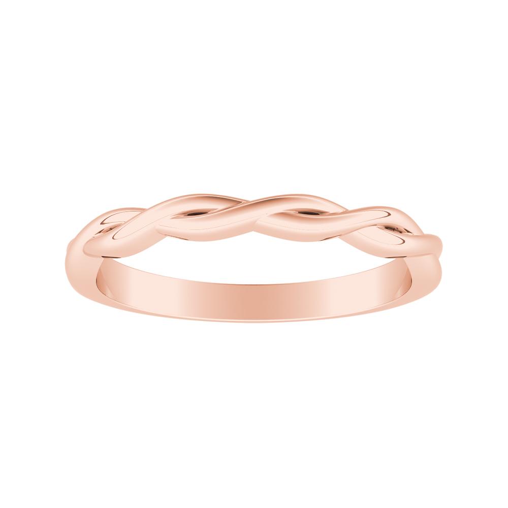 ELISE Twisted Minimalist Rose Gold Wedding Ring In 14K