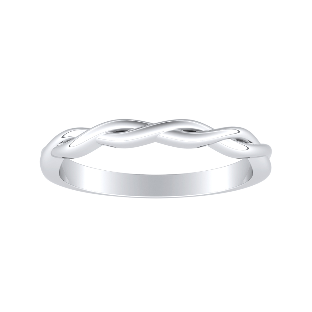 ELISE Twisted Minimalist Wedding Ring In 18K White Gold