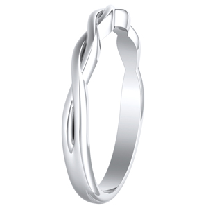 ELISE Twisted Minimalist Wedding Ring In 14K White Gold