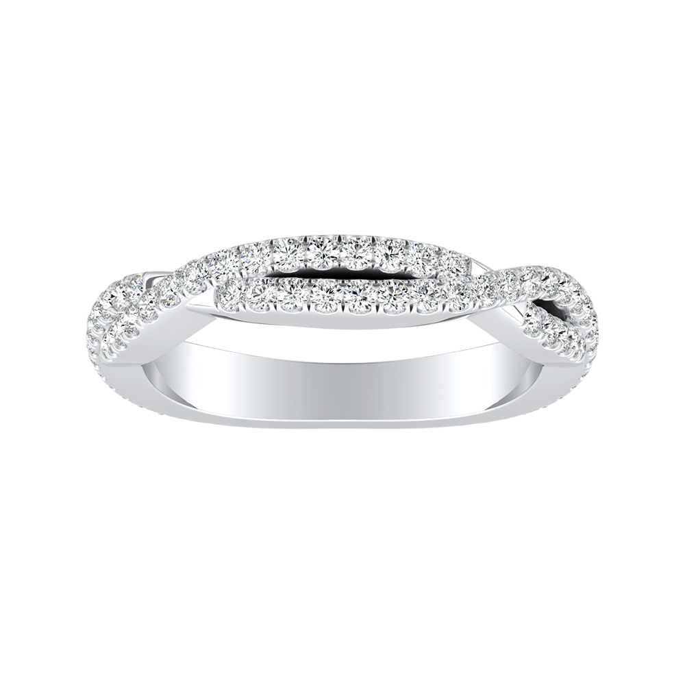CALLIE Twisted Diamond Wedding Ring In 14K White Gold