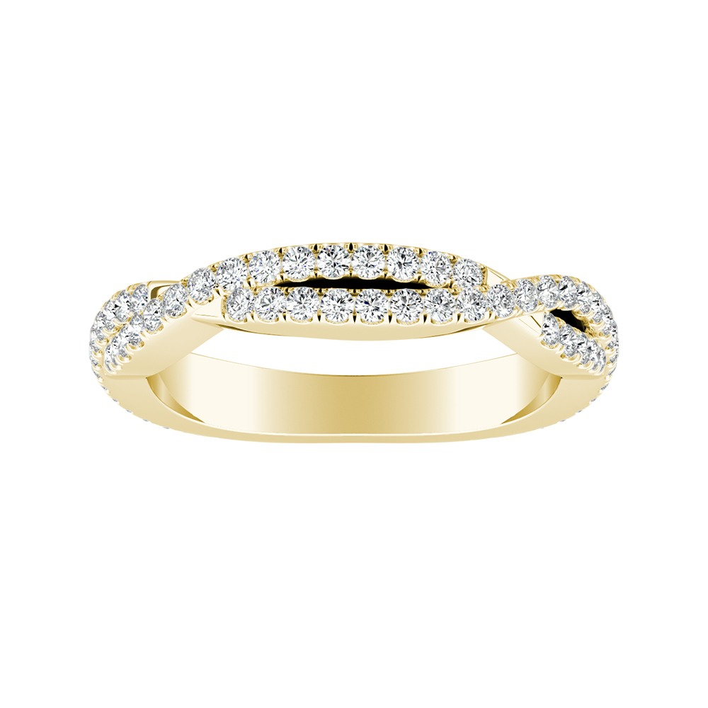 CALLIE Twisted Diamond Wedding Ring In 14K Yellow Gold