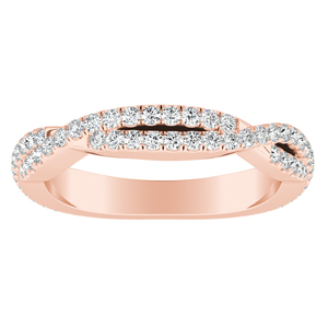 CALLIE Twisted Diamond Wedding Ring In 14K Rose Gold