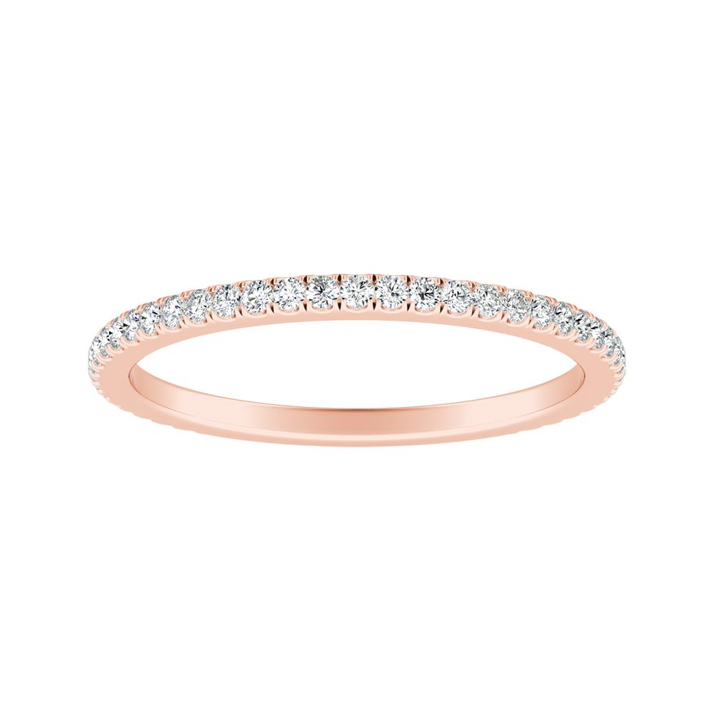 AUDREY Classic Diamond Wedding Ring In 14K Rose Gold