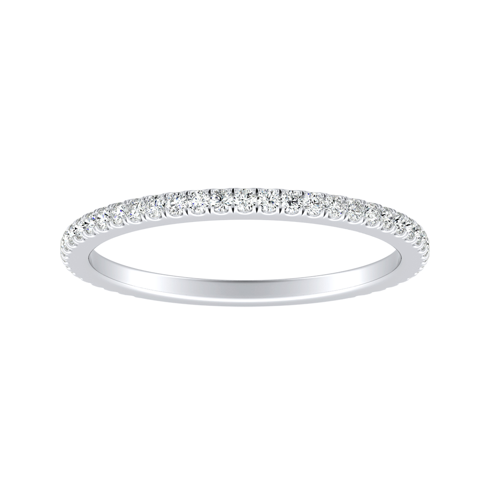 AUDREY Classic Diamond Wedding Ring In 18K White Gold