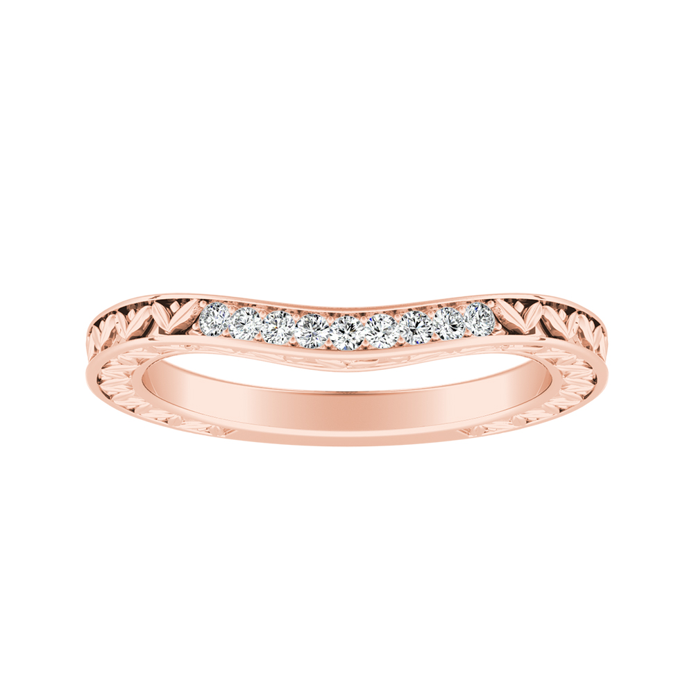 VICTORIA Vintage Style Diamond Wedding Ring In 14K Rose Gold