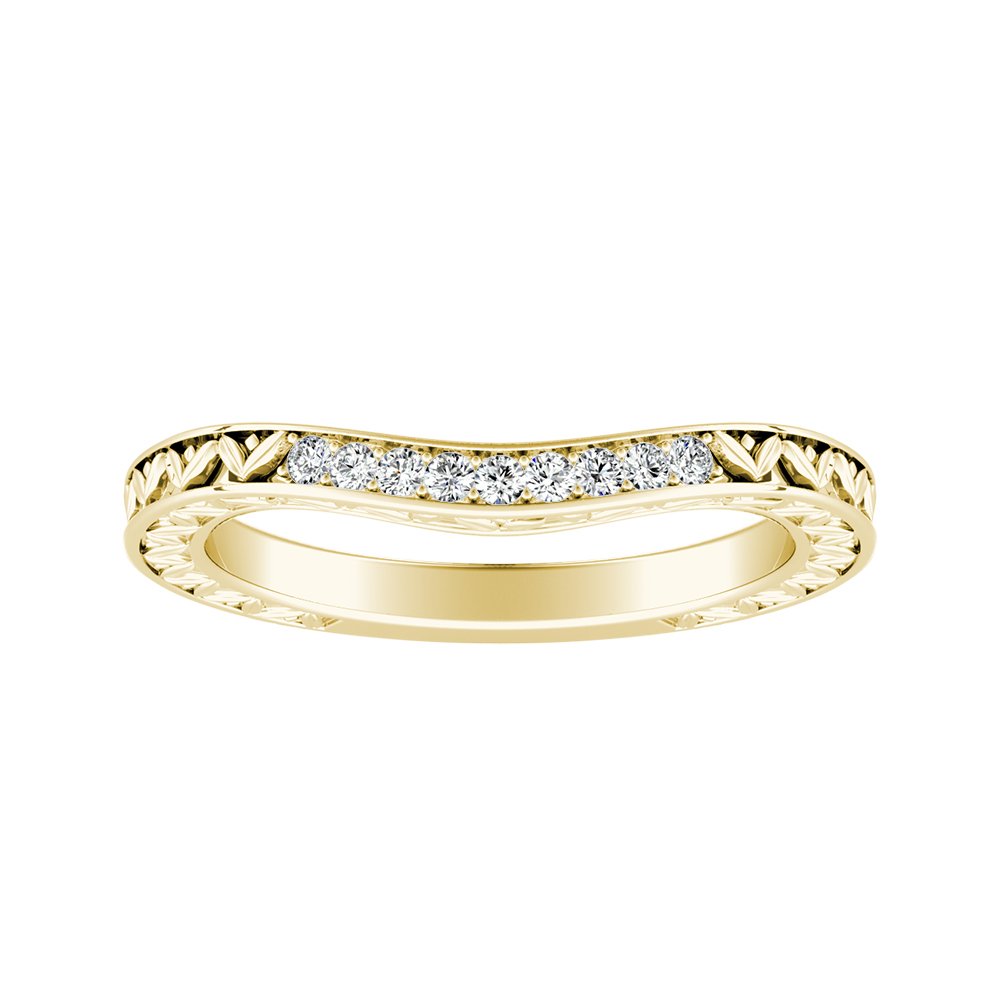 VICTORIA Vintage Style Diamond Wedding Ring In 18K Yellow Gold