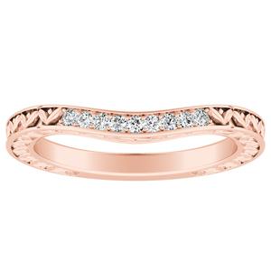VICTORIA Vintage Style Diamond Wedding Ring In 14K Rose Gold
