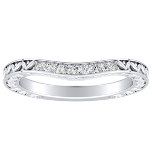 VICTORIA Vintage Style Diamond Wedding Ring In 14K White Gold