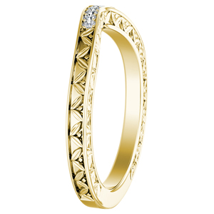 VICTORIA Vintage Style Diamond Wedding Ring In 14K Yellow Gold