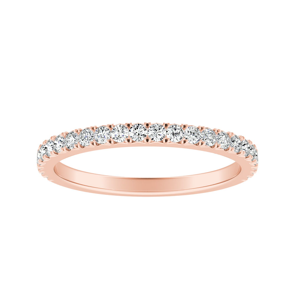 LIV Classic Stackable Diamond Rose Gold Wedding Ring in 14K
