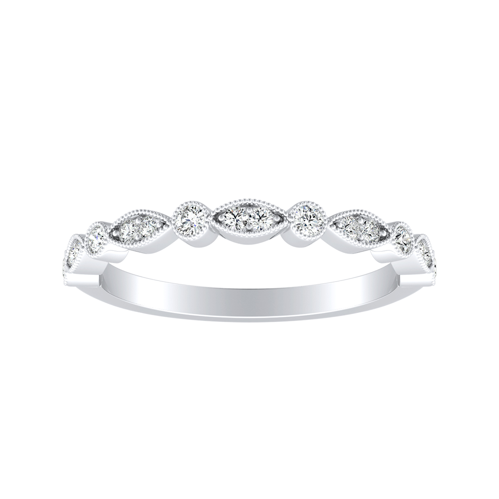 ATHENA Vintage Style Diamond Wedding Ring In Platinum