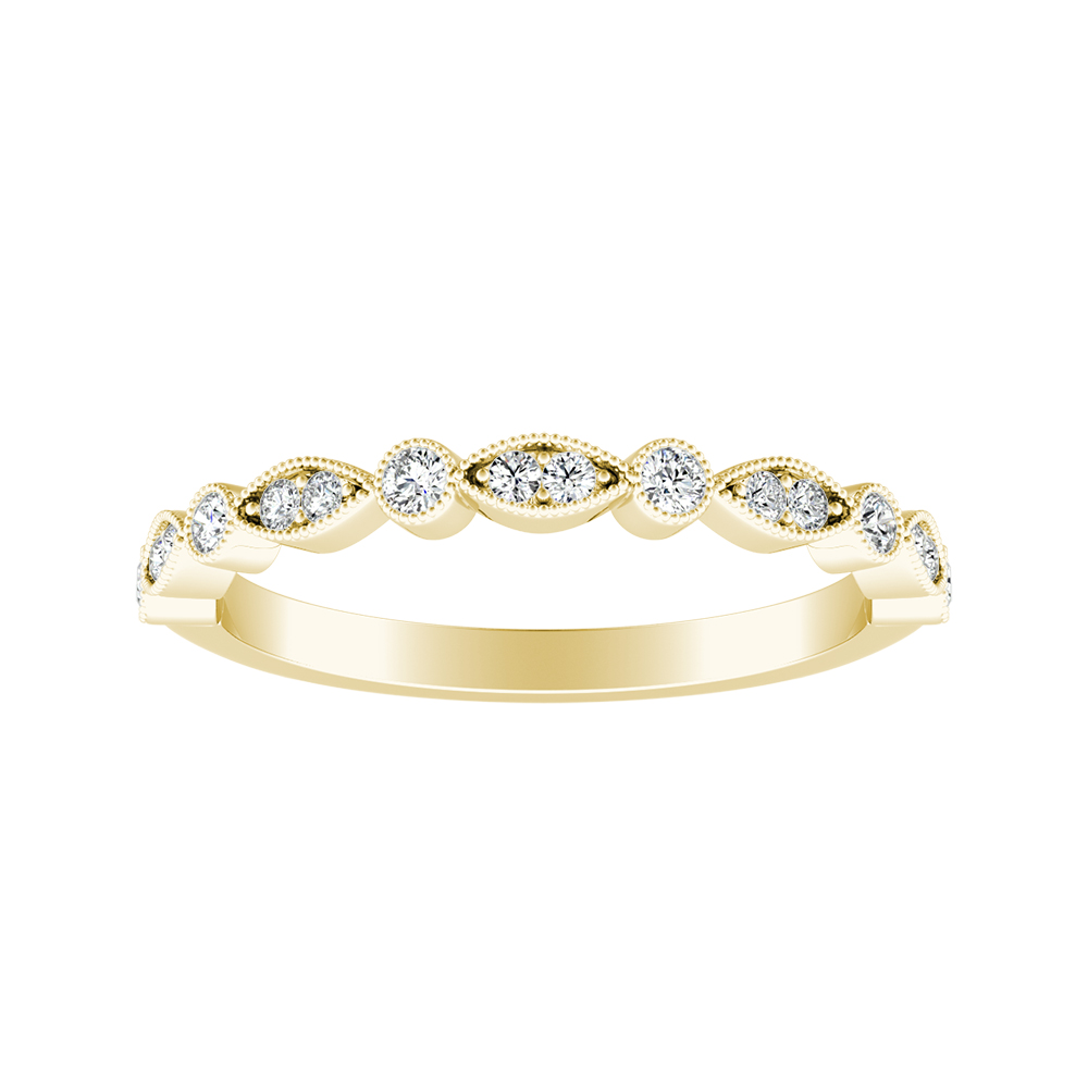 ATHENA Vintage Style Diamond Wedding Ring In 14K Yellow Gold
