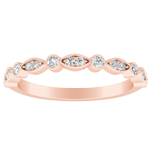 ATHENA Vintage Style Diamond Wedding Ring In 14K Rose Gold