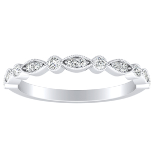 ATHENA Vintage Style Diamond Wedding Ring In 14K White Gold