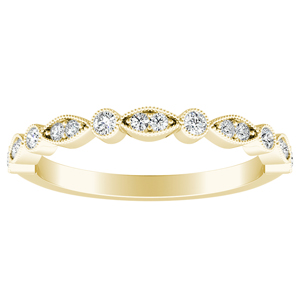 ATHENA Vintage Style Diamond Wedding Ring In 18K Yellow Gold