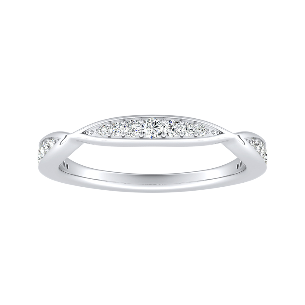 FLEUR Diamond Wedding Ring In 18K White Gold