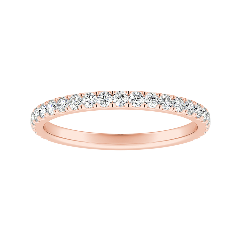 RILEY Classic Diamond Wedding Ring In 14K Rose Gold