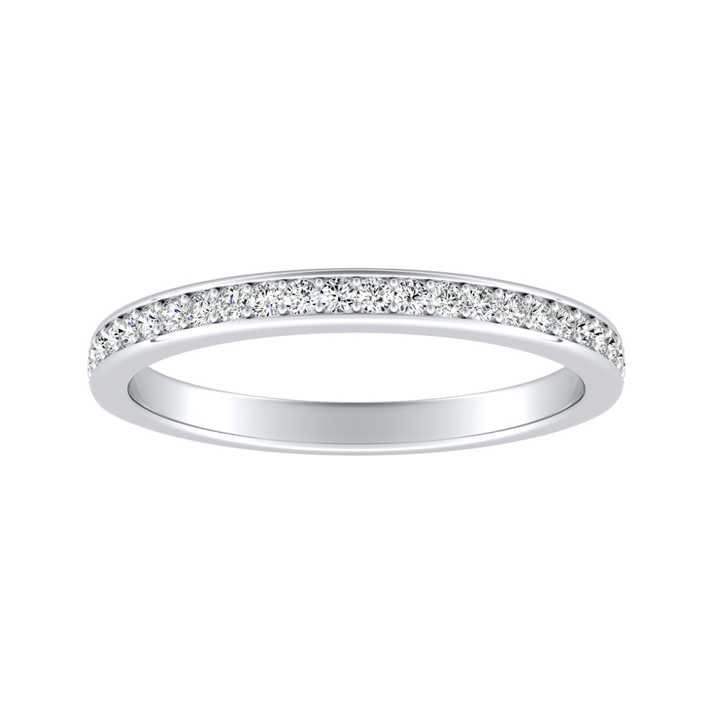 MILA Classic Diamond Wedding Ring In 14K White Gold