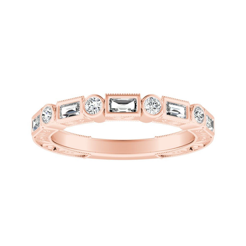 KEIRA Vintage Diamond Wedding Ring In 14K Rose Gold