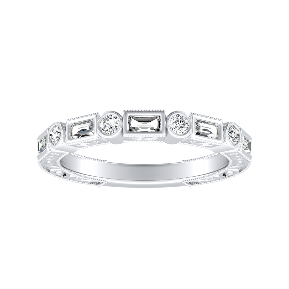 KEIRA Vintage Diamond Wedding Ring In 14K White Gold