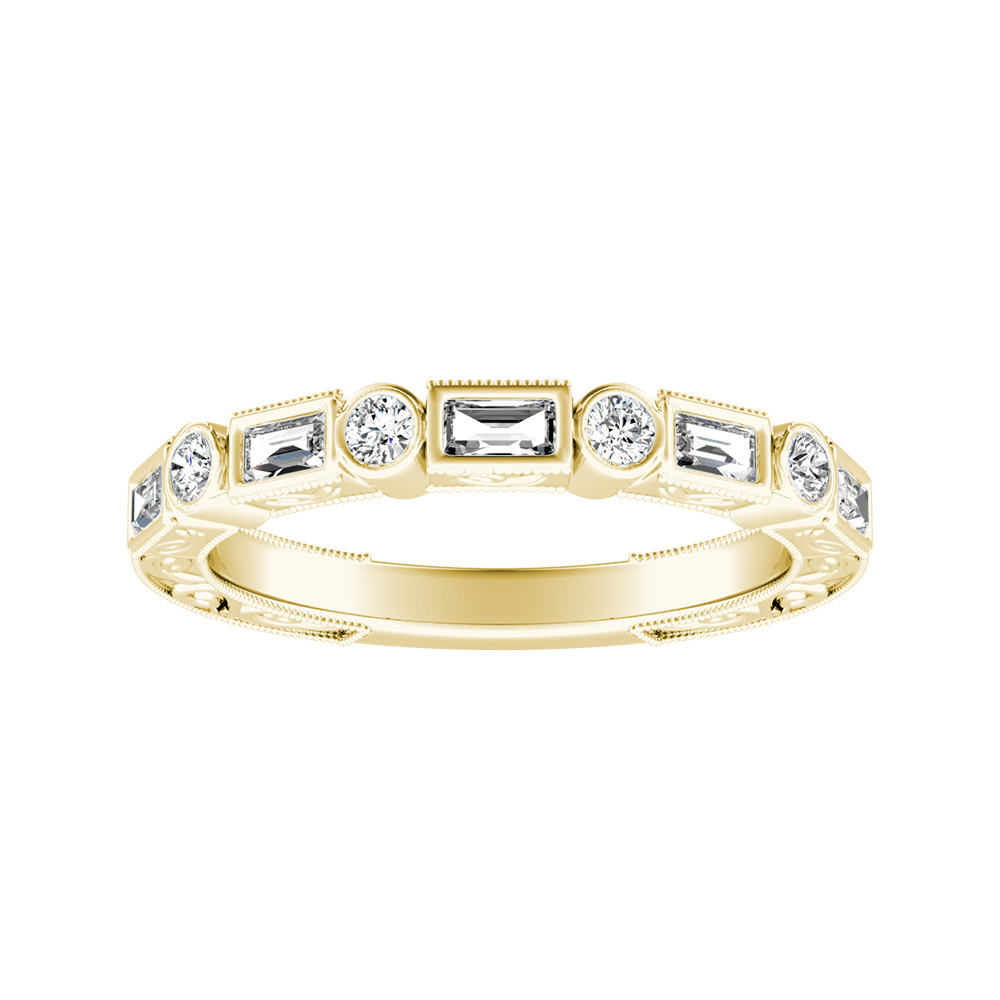 KEIRA Vintage Diamond Wedding Ring In 14K Yellow Gold
