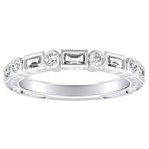 KEIRA Vintage Diamond Wedding Ring In 18K White Gold