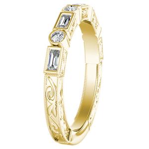 KEIRA Vintage Diamond Wedding Ring In 14K Yellow Gold