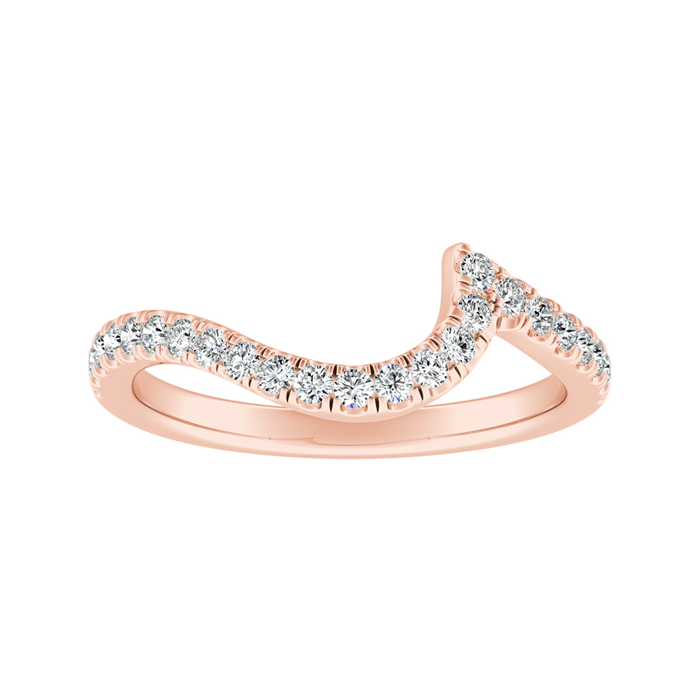 CORAL Modern Diamond Wedding Ring In 14K Rose Gold