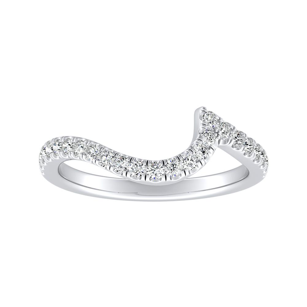 CORAL Modern Diamond Wedding Ring In 14K White Gold