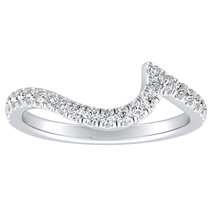 CORAL Modern Diamond Wedding Ring In 14K White Gold