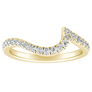 CORAL Modern Diamond Wedding Ring In 14K Yellow Gold
