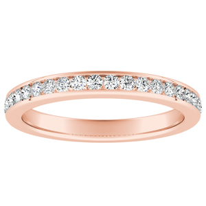 ALENA Classic Diamond Wedding Ring In 14K Rose Gold