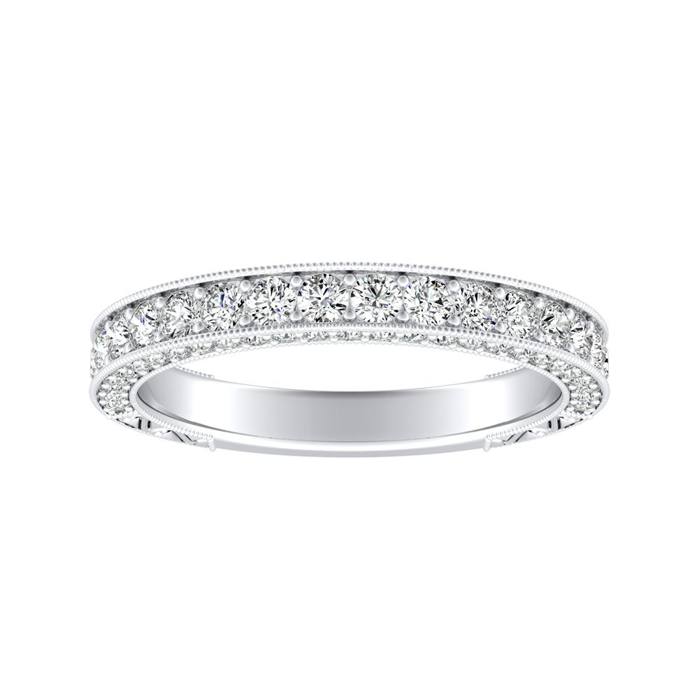 FAITH Vintage Diamond Wedding Ring In 14K White Gold