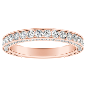 FAITH Vintage Diamond Wedding Ring In 14K Rose Gold