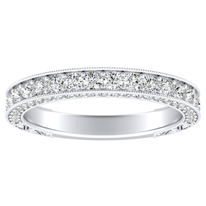 FAITH Vintage Diamond Wedding Ring In 14K White Gold