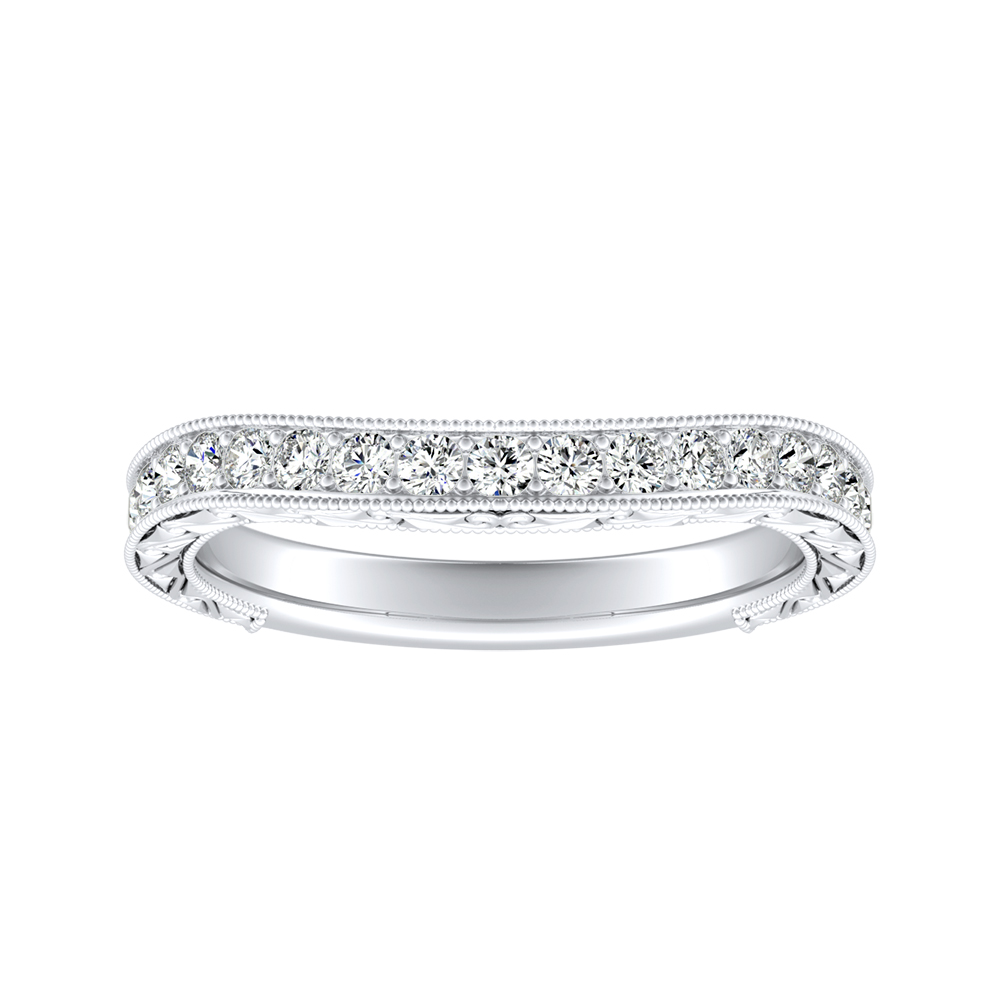 KAYLA Vintage Diamond Wedding Ring In 14K White Gold