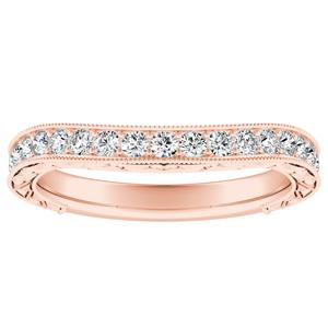 KAYLA Vintage Diamond Wedding Ring In 14K Rose Gold