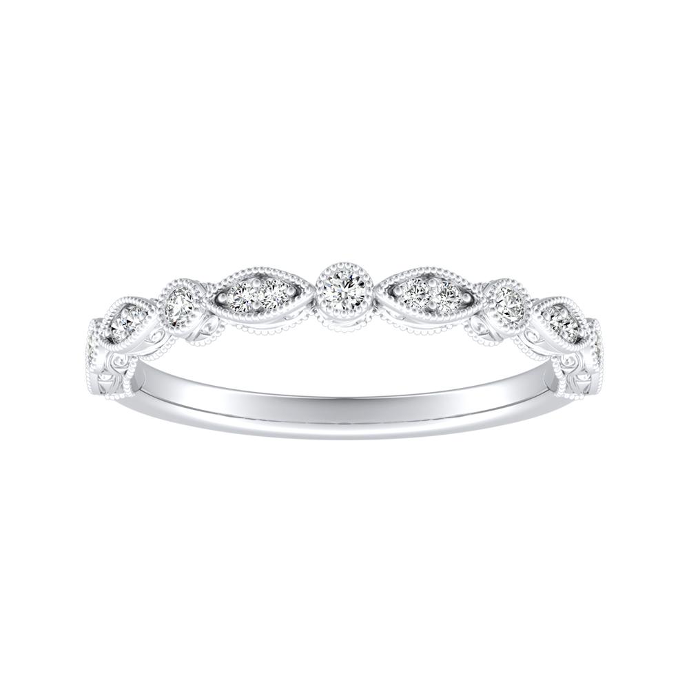 EMILIA Vintage Diamond Wedding Ring In 14K White Gold